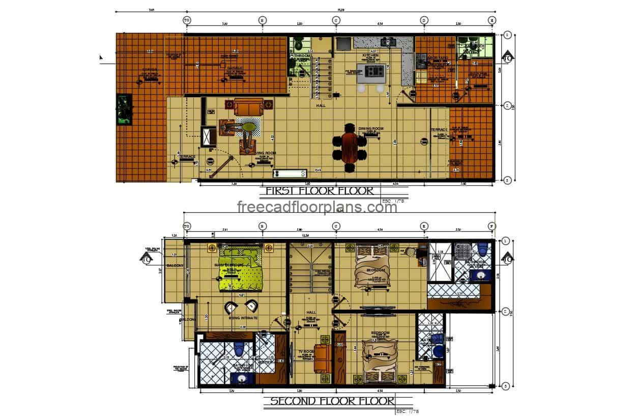 Architectural plans of a two-storey house with three rooms, drawings in DWG format of autocad with details of interior furniture for free download.