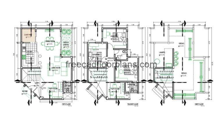 Two-level Residence With Rooftop Autocad Plan, 1610201