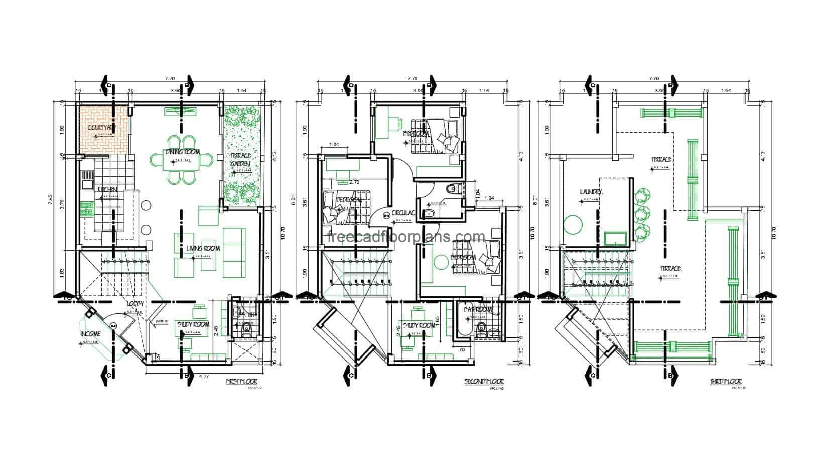 Residence of two levels with roof, modern style floor with defined furniture, architectural plants, dimensioned, elevations and sections in Autocad DWG format for free download.