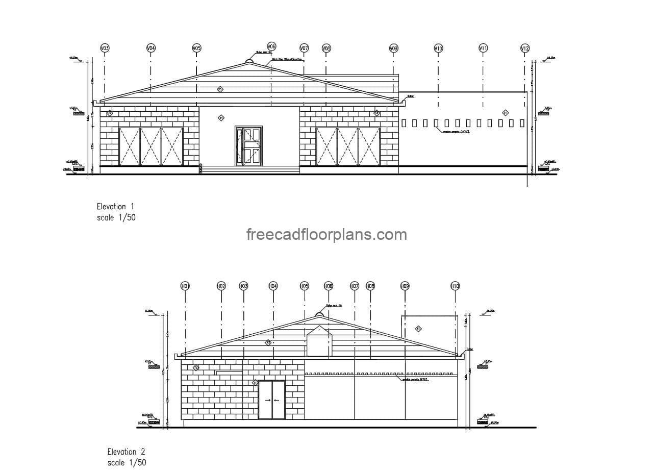 Architectural and dimensional plan with elevations of a country villa, construction details, drawing in DWG Autocad format