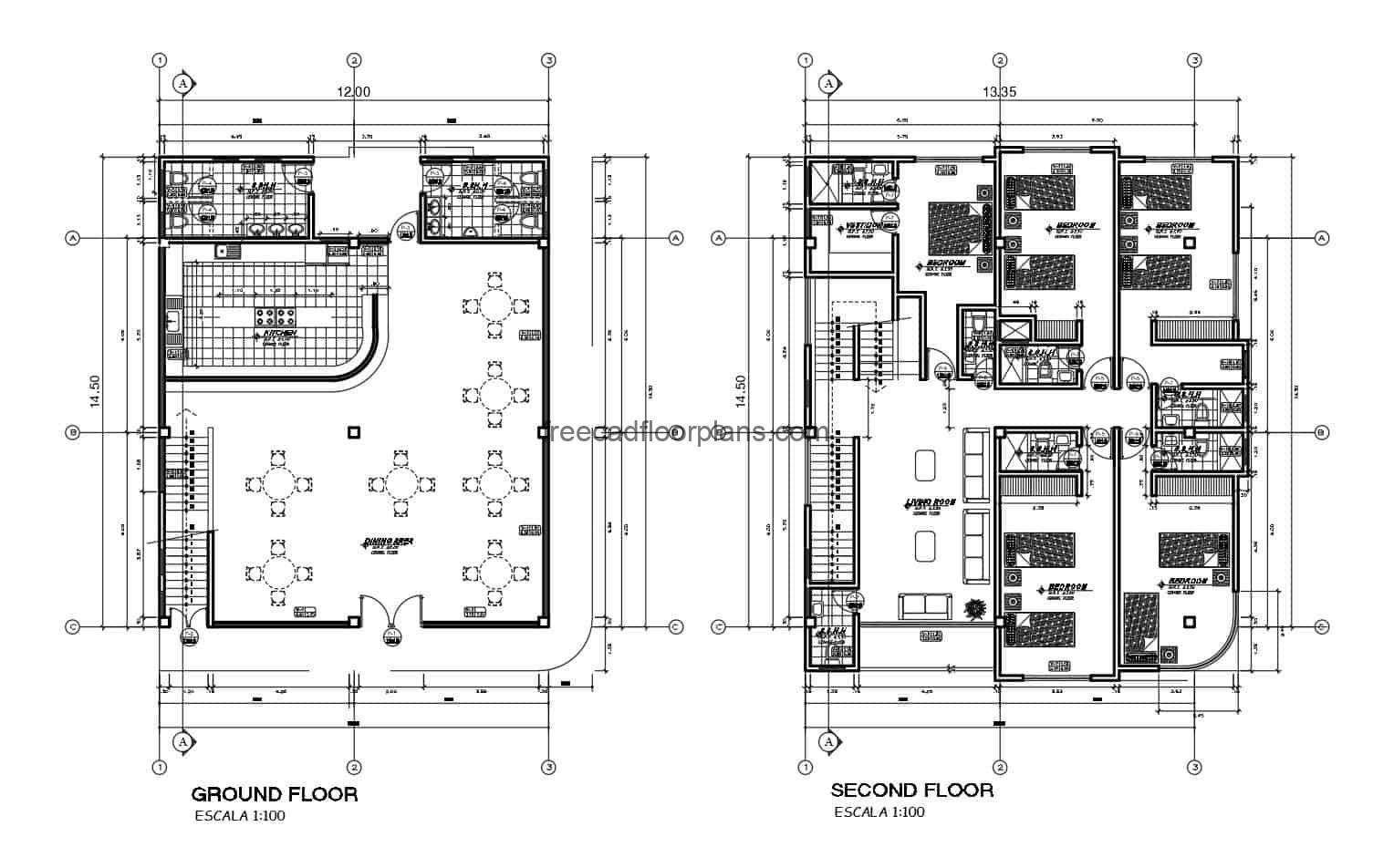 Mixed commercial-residential building, building with kitchen-restaurant on the first level and two upper levels with living quarters, plans with details and drawings in DWG format for downloading by e-mail