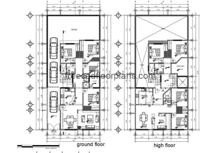 Four-bedrooms House Project Autocad Plan, 2210202