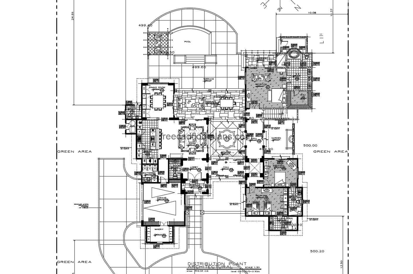 Large house with sloping roofs with several living rooms and family rooms, kitchen with breakfast area, dining area for 10 people, three large bedrooms, rear terrace and pool. Complete project plans for free download in Autocad DWG format.