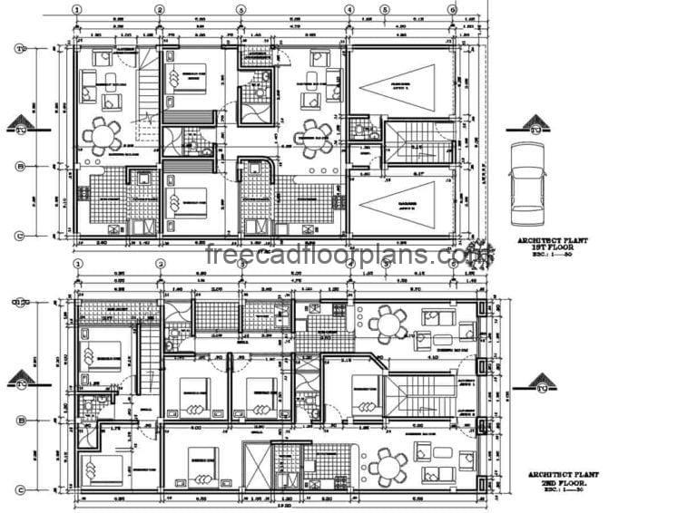 Residential family Housing Project Autocad Plan, 810202