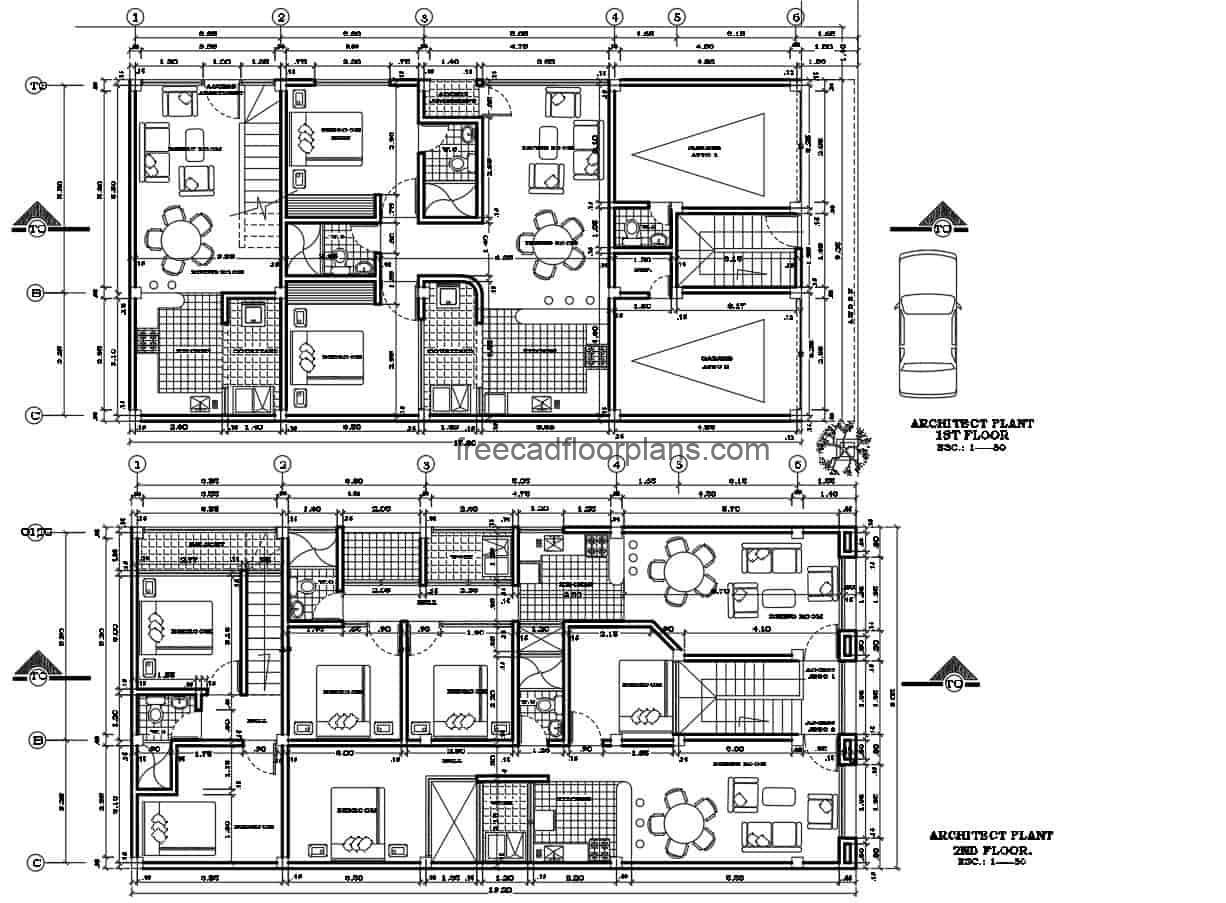 Family residential project of several houses with and rooms in a residential building of 3 levels, architectural project and dimensioned plans in Autocad DWG format for free download.