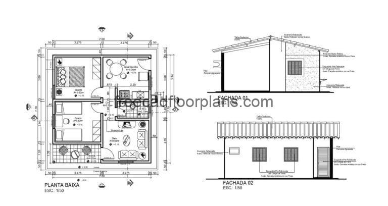 Single Level Country House Autocad Plan, 210201