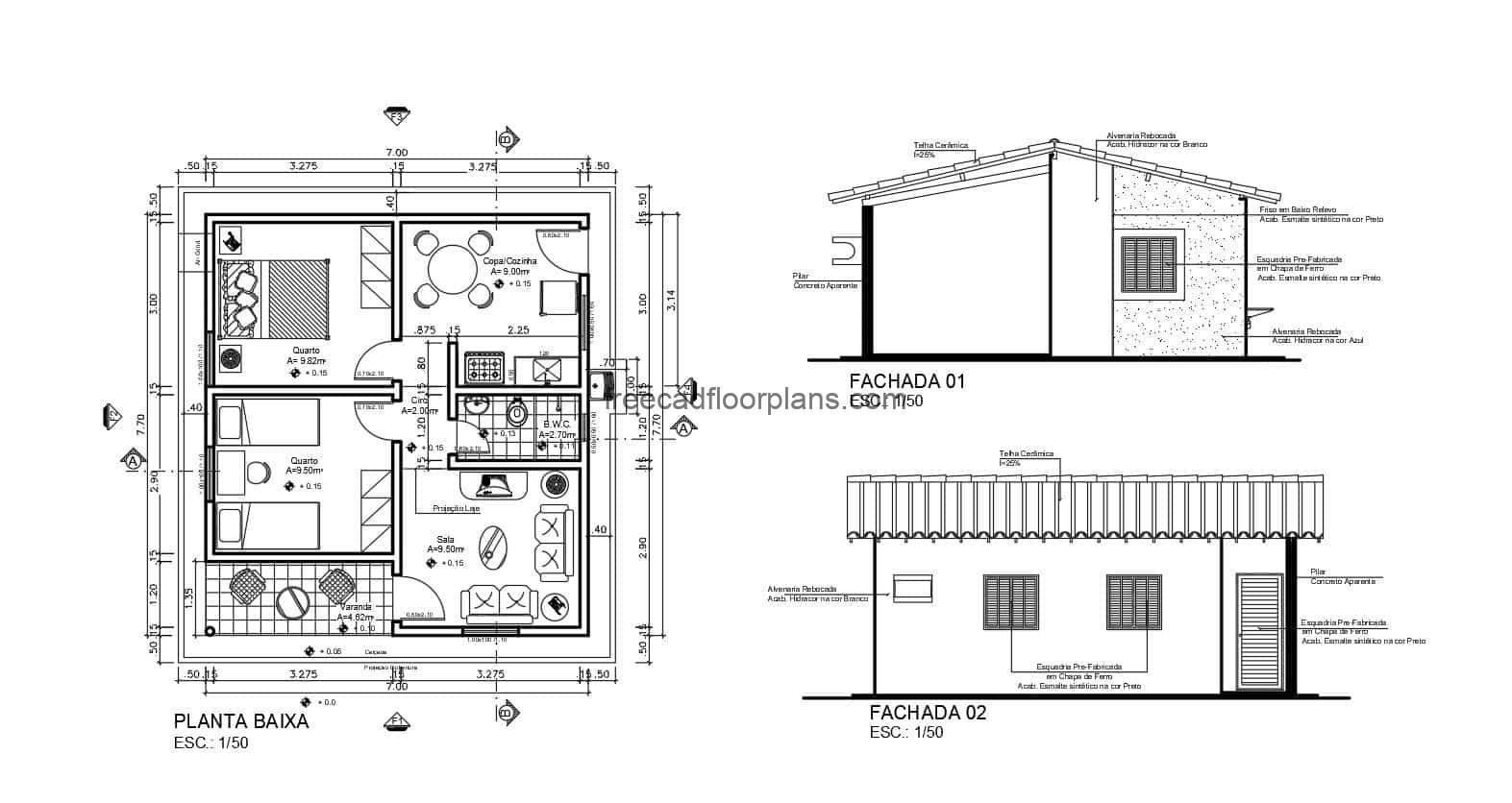 Plans in DWG Autocad format of small country house on one level, with two rooms, elevations ,sections, foundation details, small dimensions, plan for free download