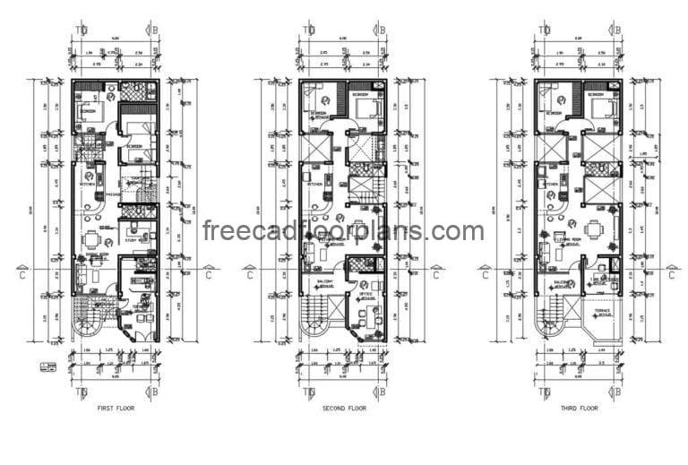 Three-storey Residential Housing Project Autocad Plan, 810202