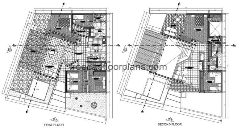 DWG drawings of plans, elevations, sections and details of a two-story house located at the edge of the beach, modern style floor plan.