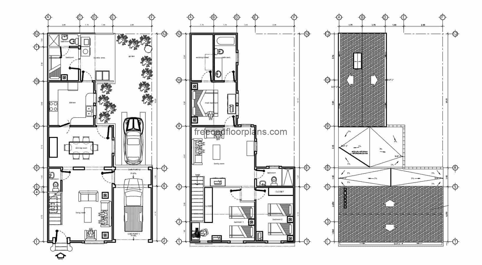 Architectural and dimensional plans of a two-level residence with four rooms and usable roof, plans designed in Autocad DWG, construction details, floor plan with Autocad blocks and dimensions.