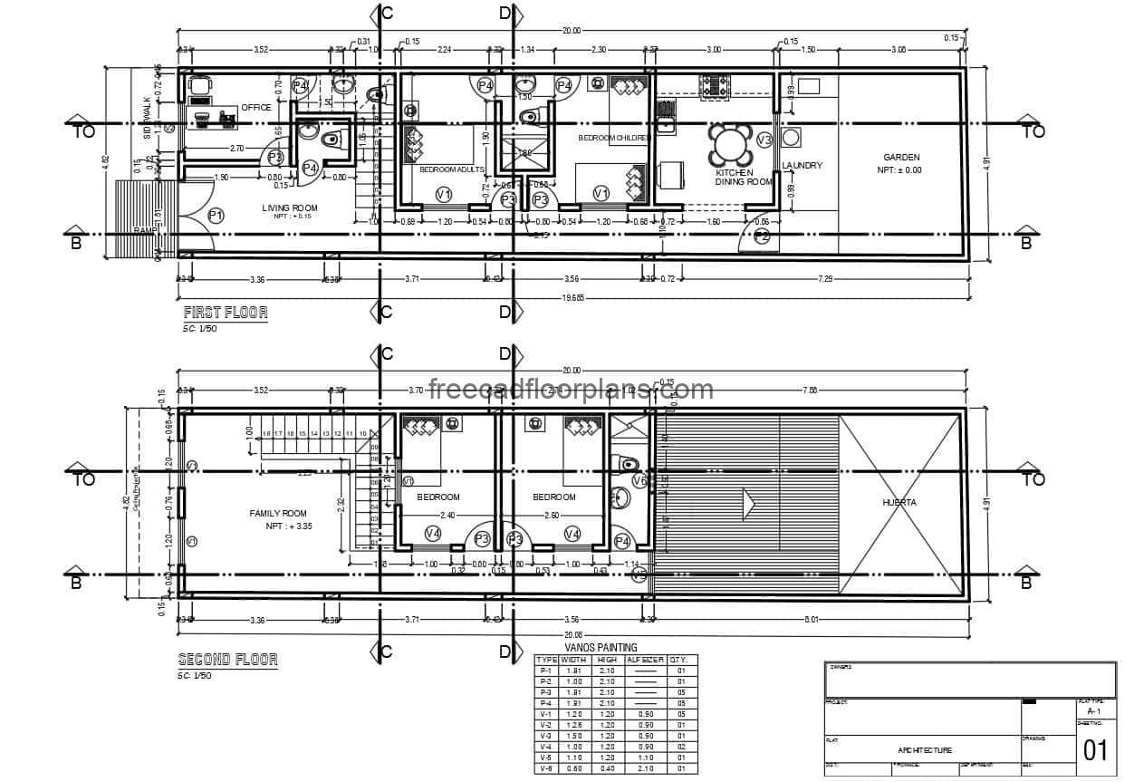 Architectural and dimensional plans in DWG format, two-level house of modest dimensions with four bedrooms, two bedrooms for each level
