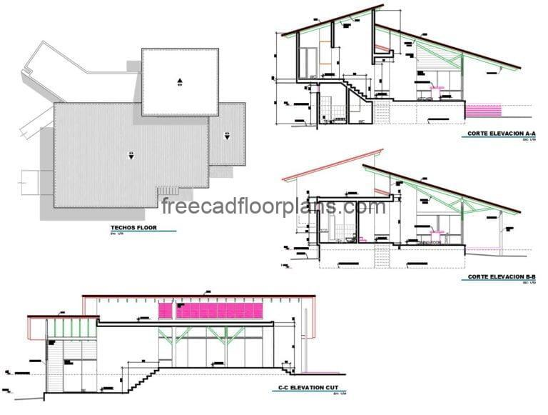 Project in autocad format, architectural plans of modern family of two levels with two rooms ,plans in Autocad format with details and dimensions