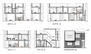 Project in autocad format, architectural plans of modern family of two levels with four rooms ,plans in Autocad format with details and dimensions