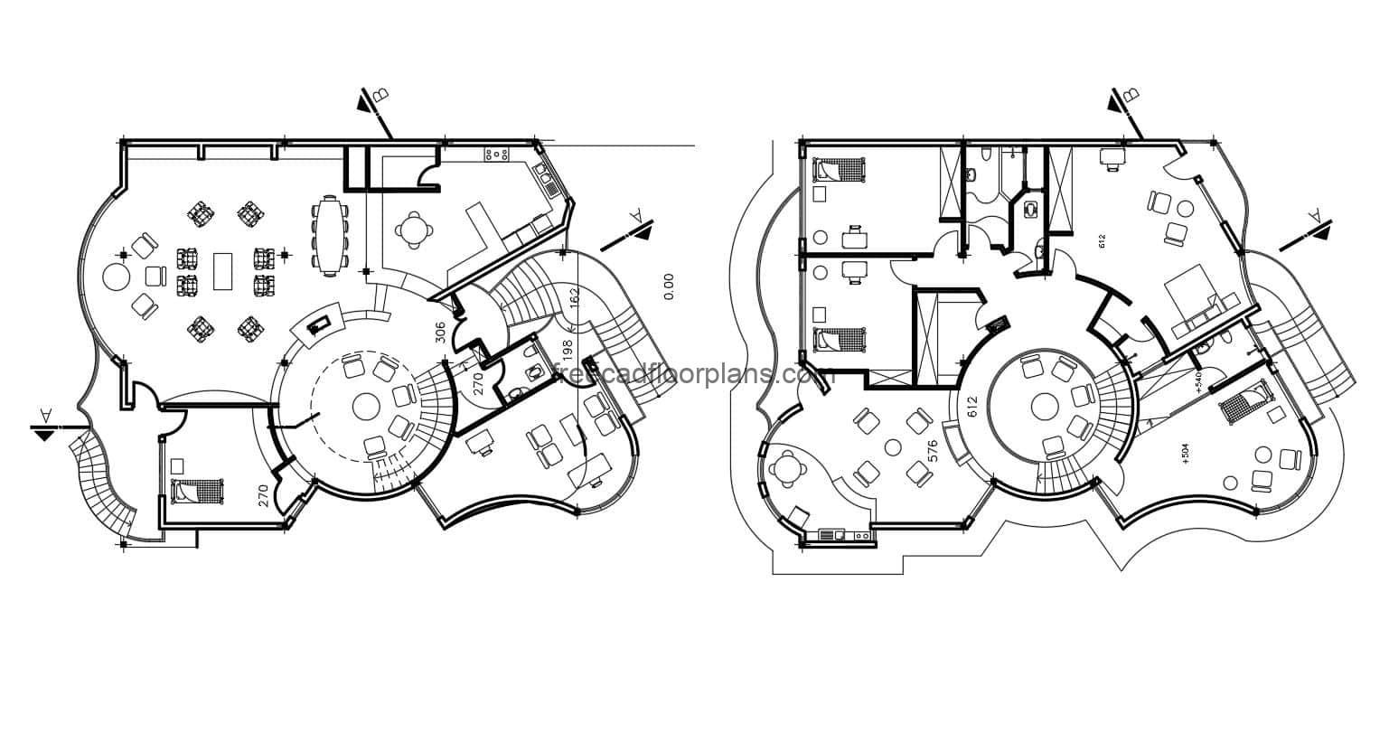 House with integrated circular shapes, three levels and modern style, complete architectural design and dimensional drawings in Autocad DWG format for free download. The house has parking for several vehicles, and five bedrooms in total. editable house blueprints, autocad interior blocks