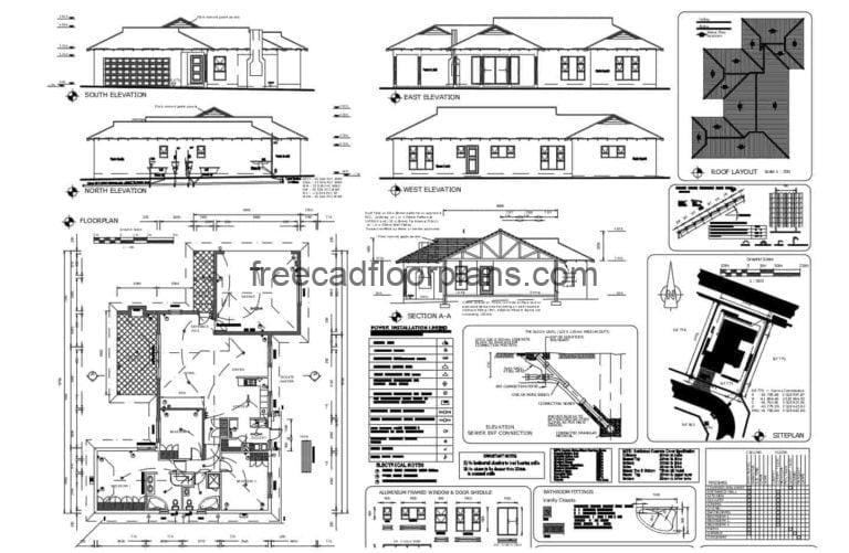 Country House Complete Project AutoCAD Plan, 1211201