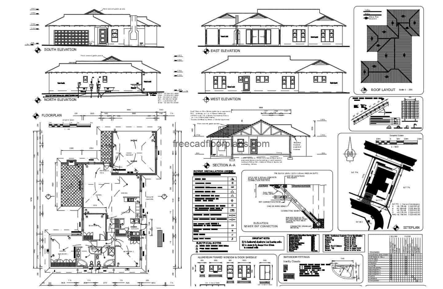 Complete architectural project plans of a country residence of one level with three rooms, the complete project composes architectural plans, dimensioning, elevations, sections, siteplan, doors and windows plan, structural and wood details. Bluprints for free download in DWG format from Autocad.