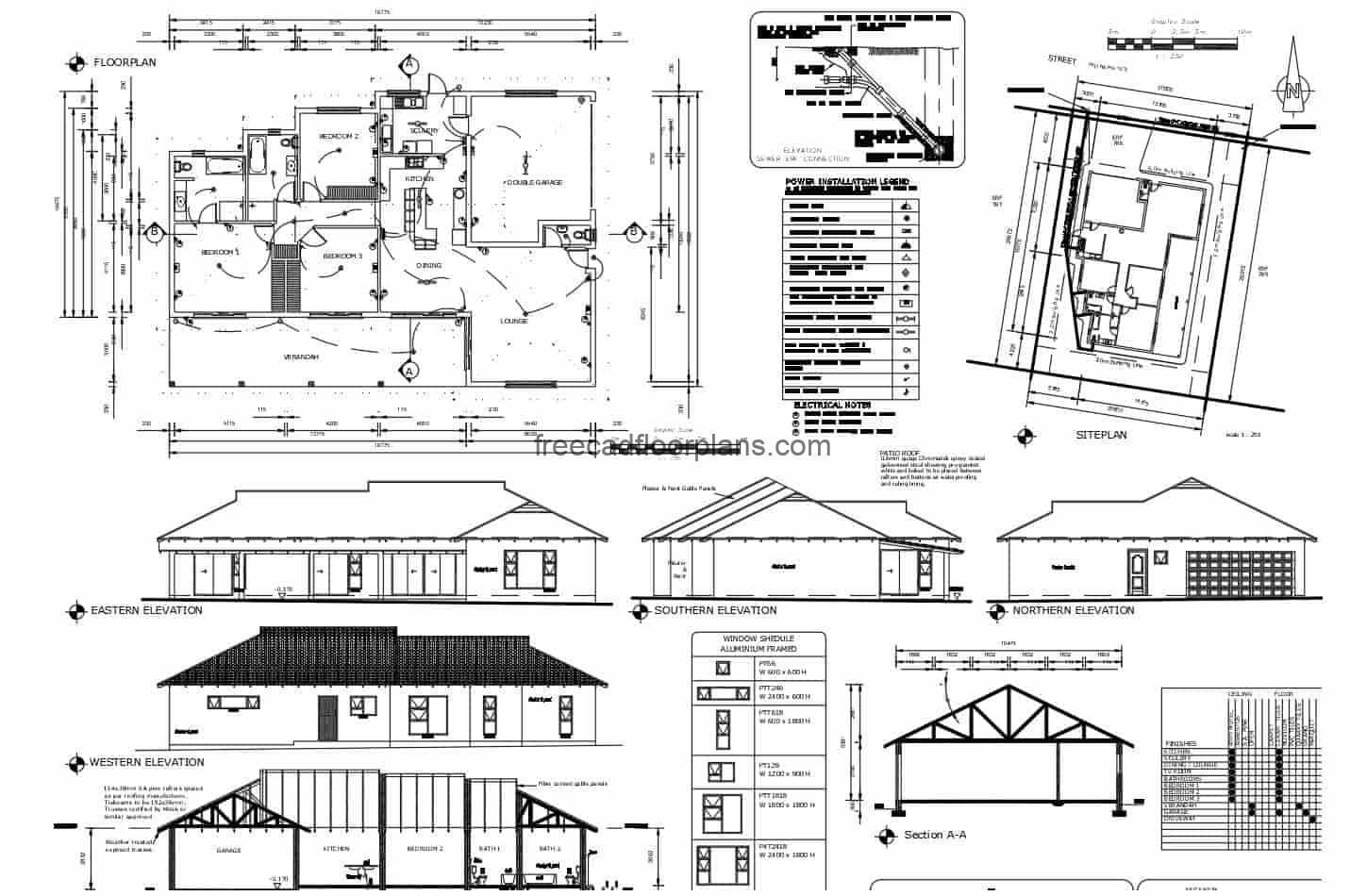Complete detailed project plans of small country house with sloping roofs and wooden structural details, dimensional plans, architectural, door and window details, master plan. The residence is of one level with three bedrooms and social area defined in living room, kitchen and dining room with perimeter terrace. Blueprints in DWG format for free download, editable plans