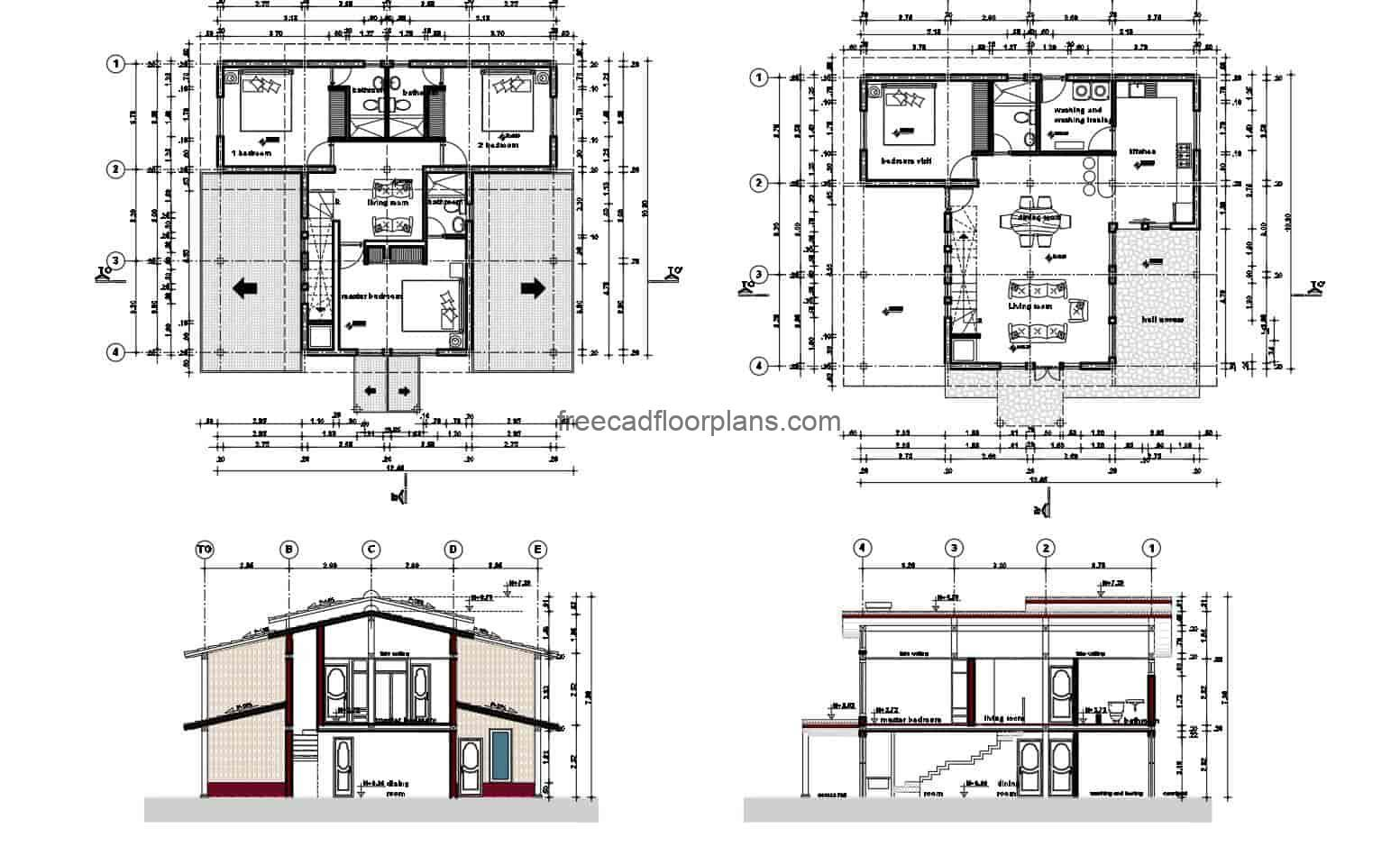 Architectural plans for a two-level country house with three bedrooms, front wood cladding, dimensional plans, electrical, sanitary, elevation sections. Overall plan, country house with side and front terraces. Blueprints for free download in Autocad DWG format, editable DWG interior blocks.