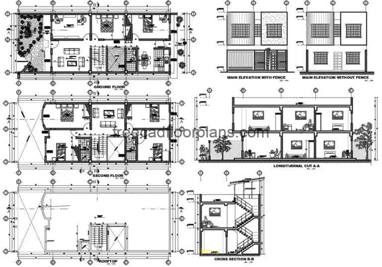 Four-bedroom Single-family Residence AutoCAD Plan, 211201