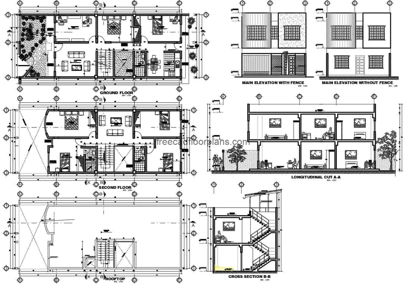 A complete project for a single family residence with four bedrooms on two levels, a social area on the first level with a garden, living room, kitchen, dining room, second level with four bedrooms. Plans with architectural design, elevations, sections and details of facade for free download in Autocad DWG format.
