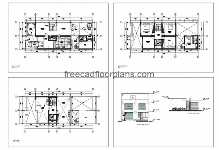Four-bedroom Two Storey Residence AutoCAD Plan, 2711202