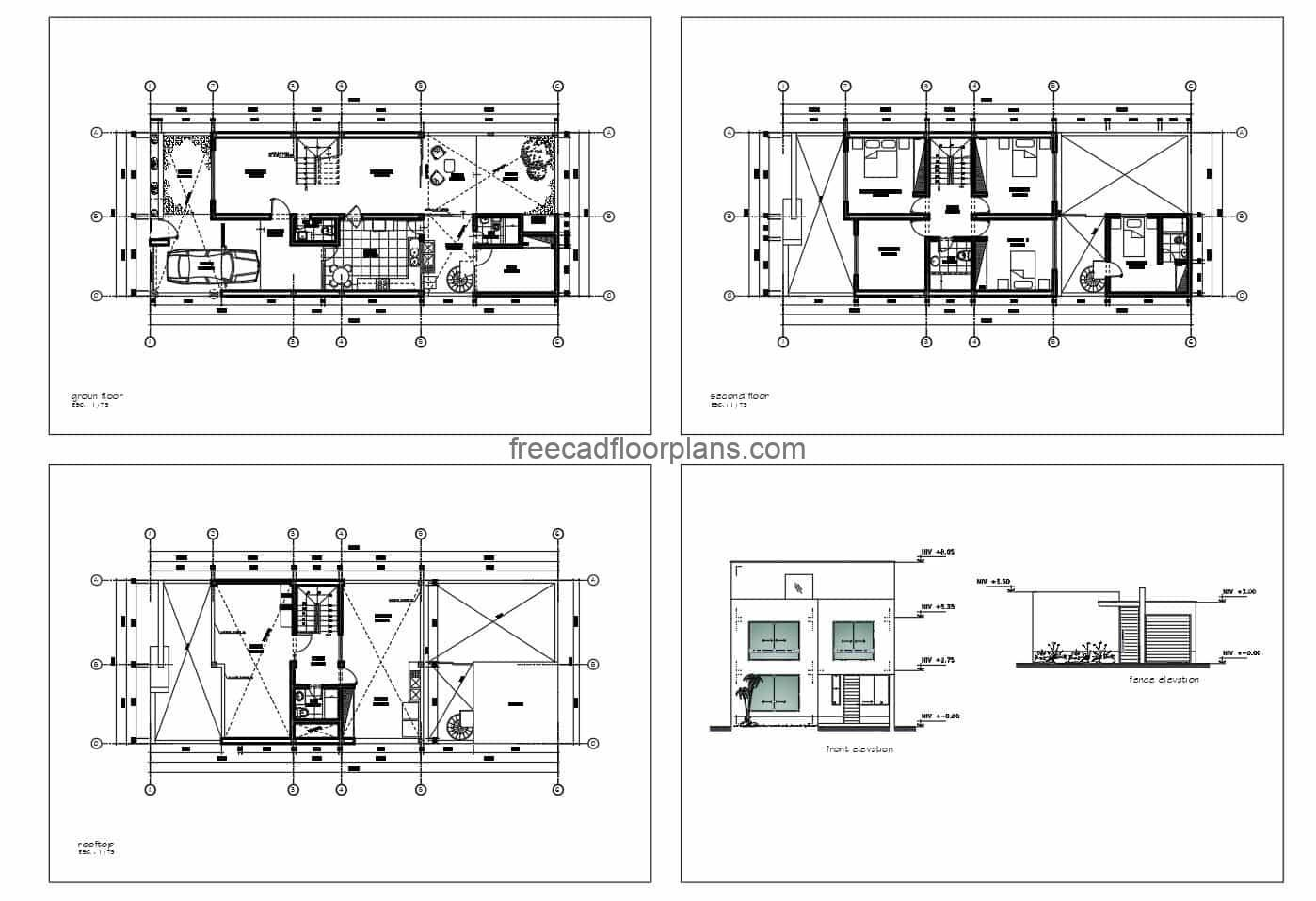Architectural design in 2D format DWG of Autoca of simple residence of two levels with four rooms in total, in the first level social areas with garage for a vehicle, living room, kitchen dining room, patio, office, a bath and garden in the front and back. Second level private areas with four bedrooms and two bathrooms, study room and front terrace. Detailed plans in DWG format with dimensions for free download.