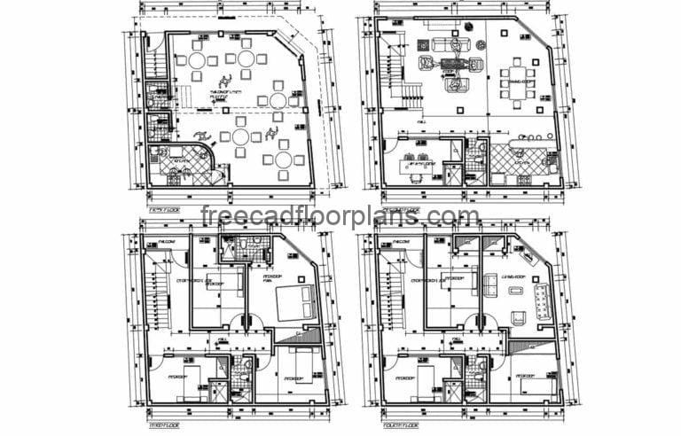 Commercial Mixed-use House AutoCAD Plan, 1311202
