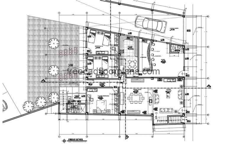 Mixed House & Commerce AutoCAD Plan, 2411201