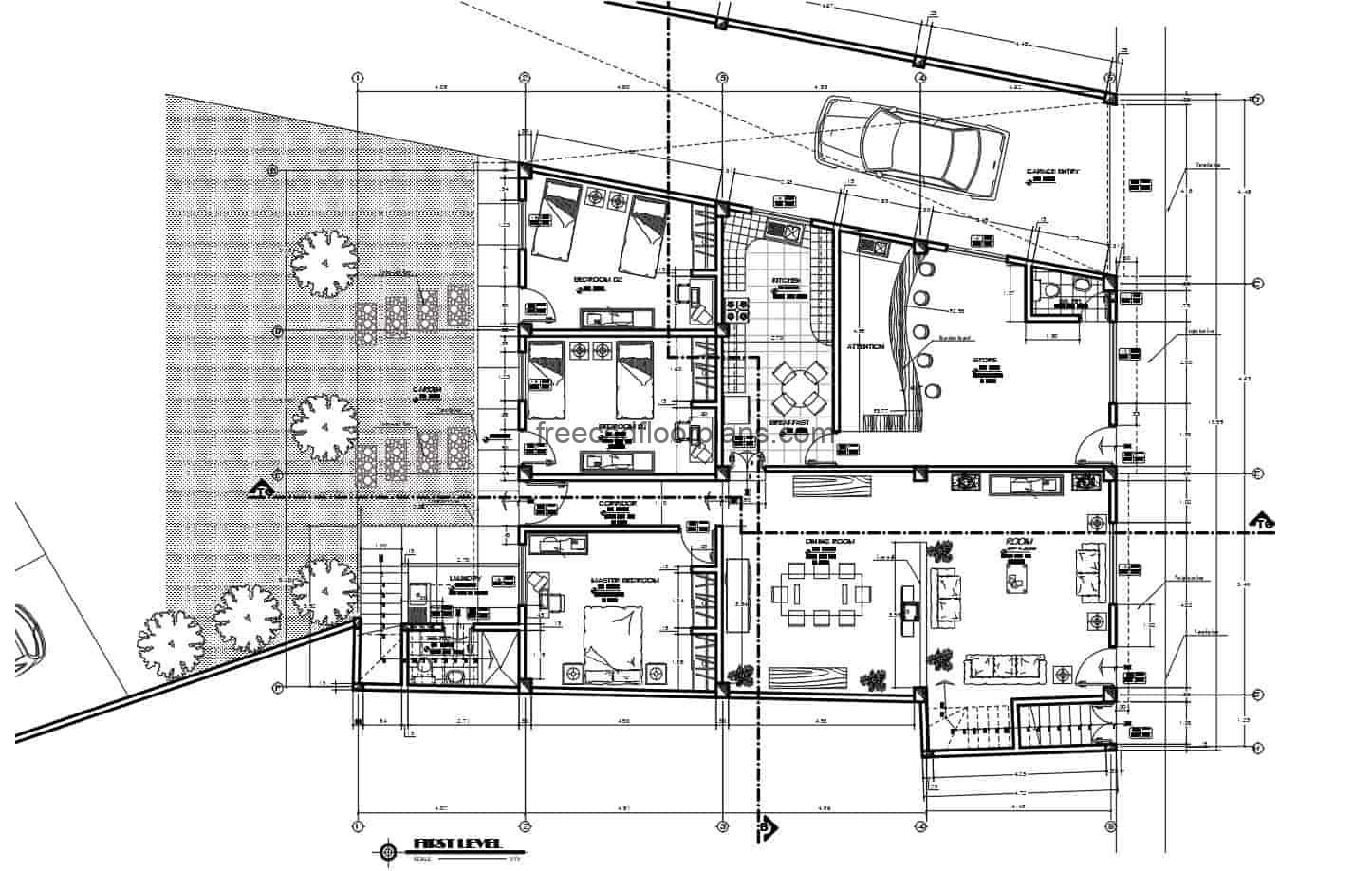 Architectural design of 2D DWG plans Mixed house and commerce with dimensioned plan, elevations and sections. The place has a two-level residence with seven rooms in total, living room, kitchen, dining room, and attached a commercial space in front. Blueprints 2D for free download in Autocad DWG format