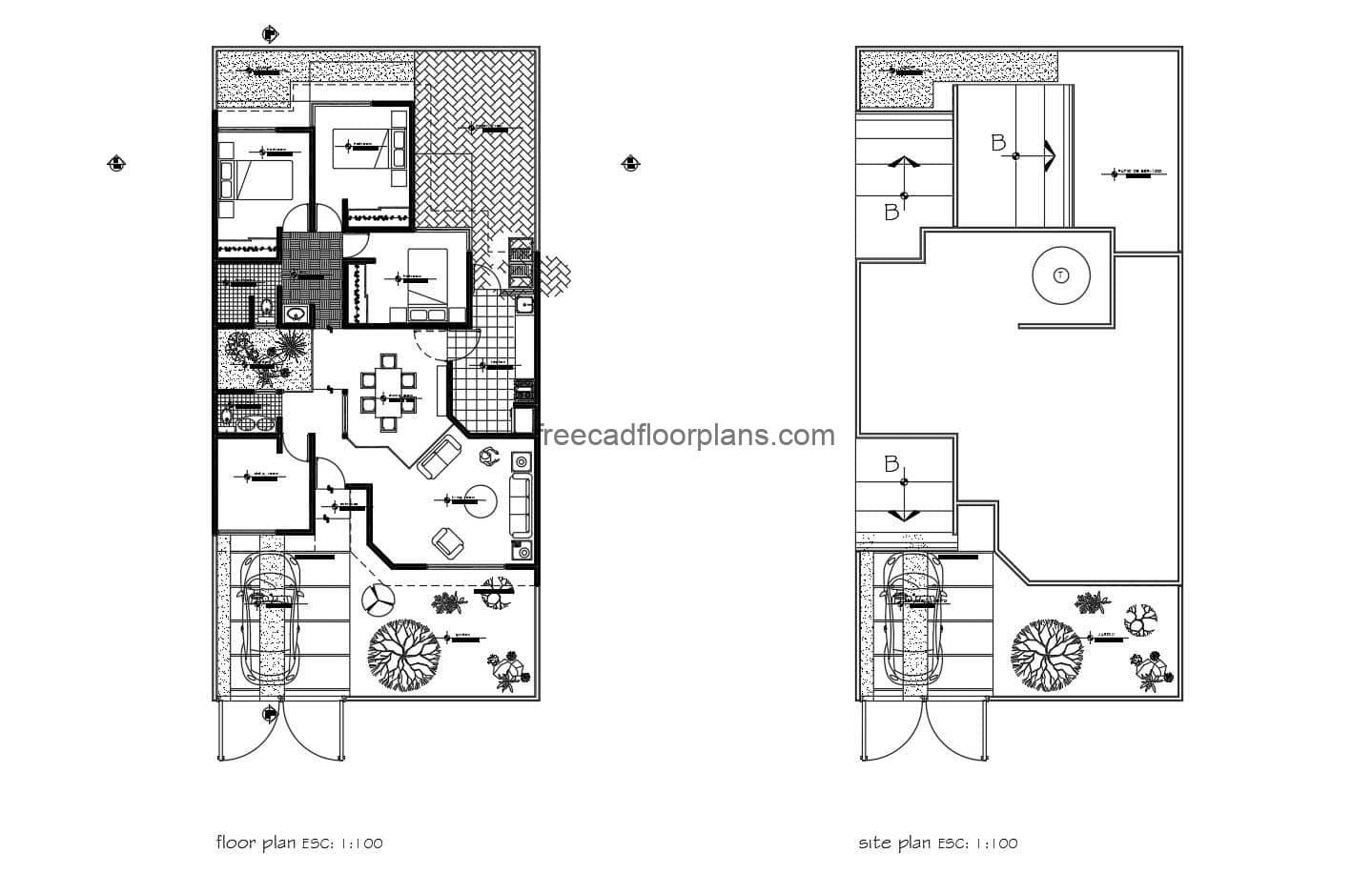Single level house with three bedrooms in total, one car garage, front garden area, study room, living room, dining room, kitchen, laundry area, one and a half baths and backyard. 2D plans in Autocad DWG format, architectural plan, sizing, elevations, sections and structural details.
