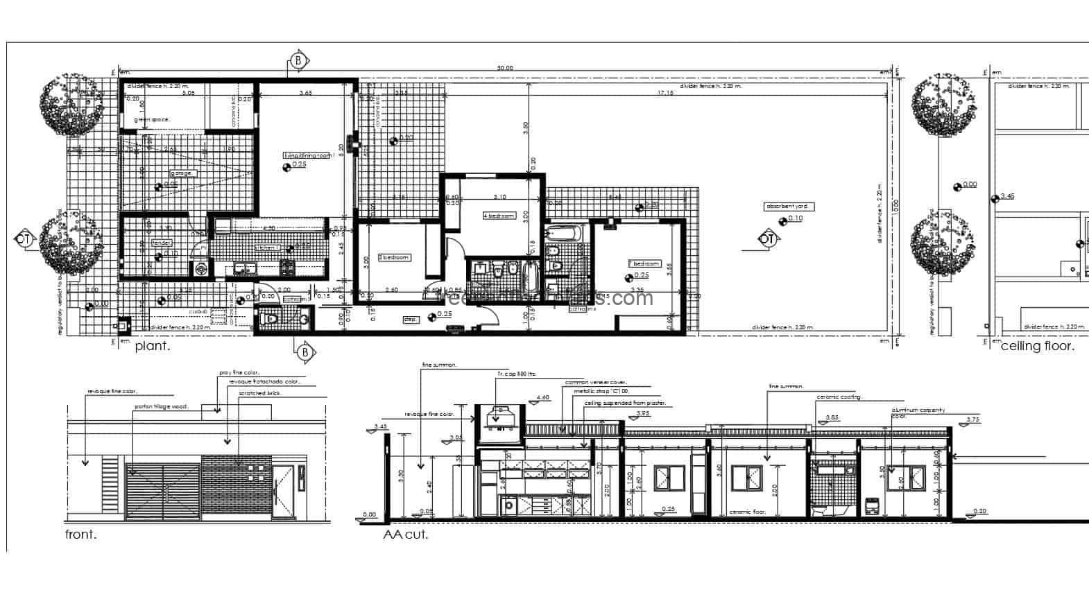 Architectural and dimensional 2D plans of project developed in DWG Autocad, single level house with large rectangular shaped patio, three rooms in total with two and a half bathrooms. 2d blueprints of simple house for free download in DWG format for free download.