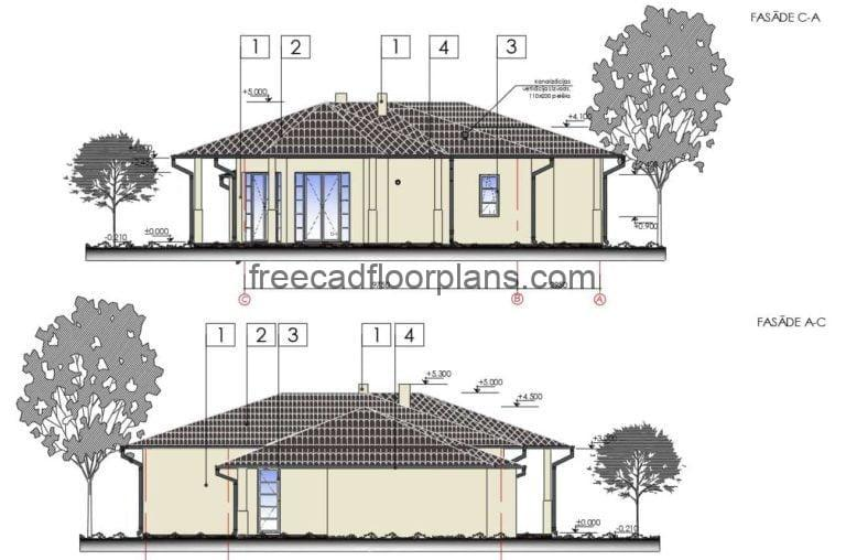 One-level country house, detailed architectural plans with dimensions, elevations and sections, material details, roof structure floor plan and structural wood details. Editable plans for free download in Autocad DWG format.