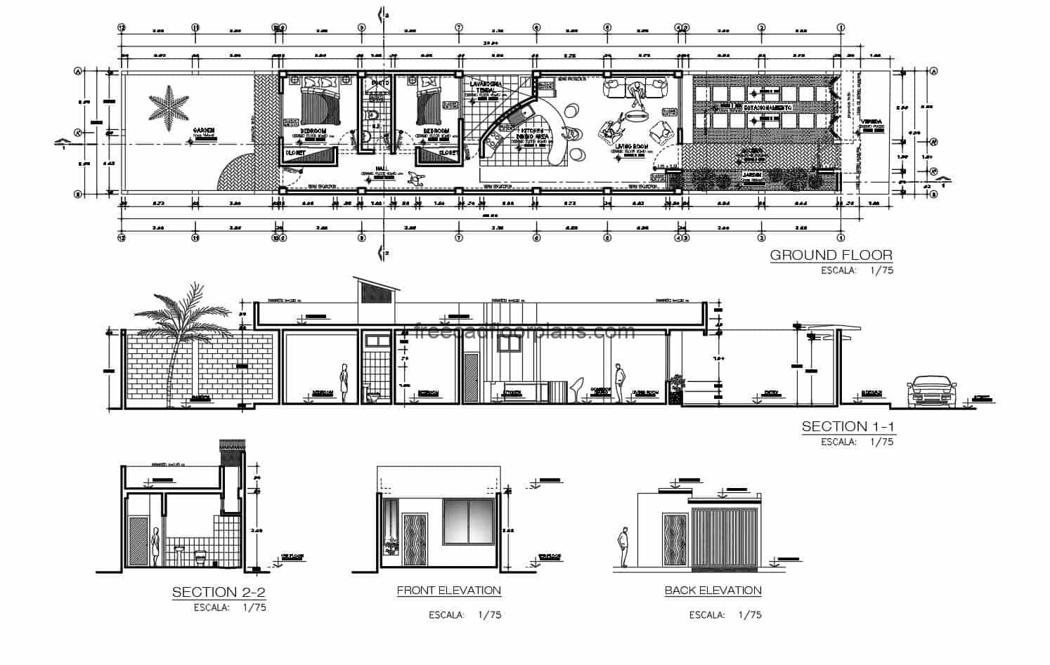 Architectural and dimensional plans, with facade elevations and single-level house cuts with two bedrooms, parking, garden, living room, kitchen and dining room, a shared bathroom and laundry area. Preliminary plans in DWG format from Autocad for free download.