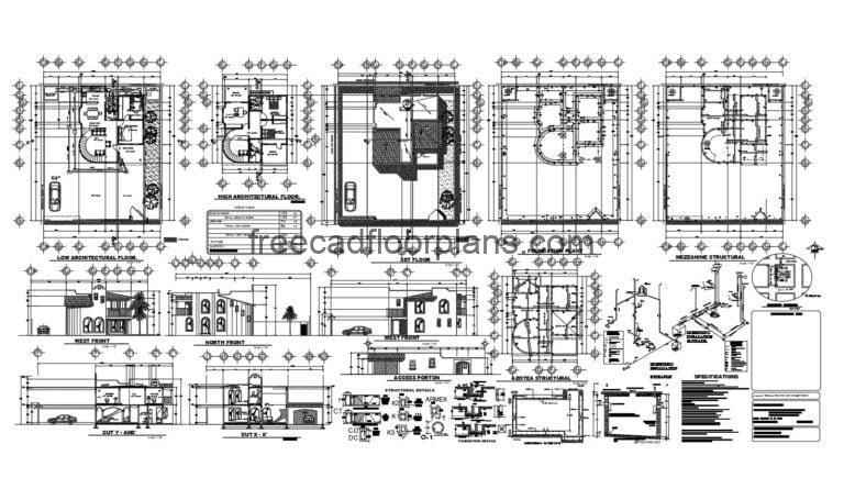 Small Two-storey House Complete Project AutoCAD Plan, 811202