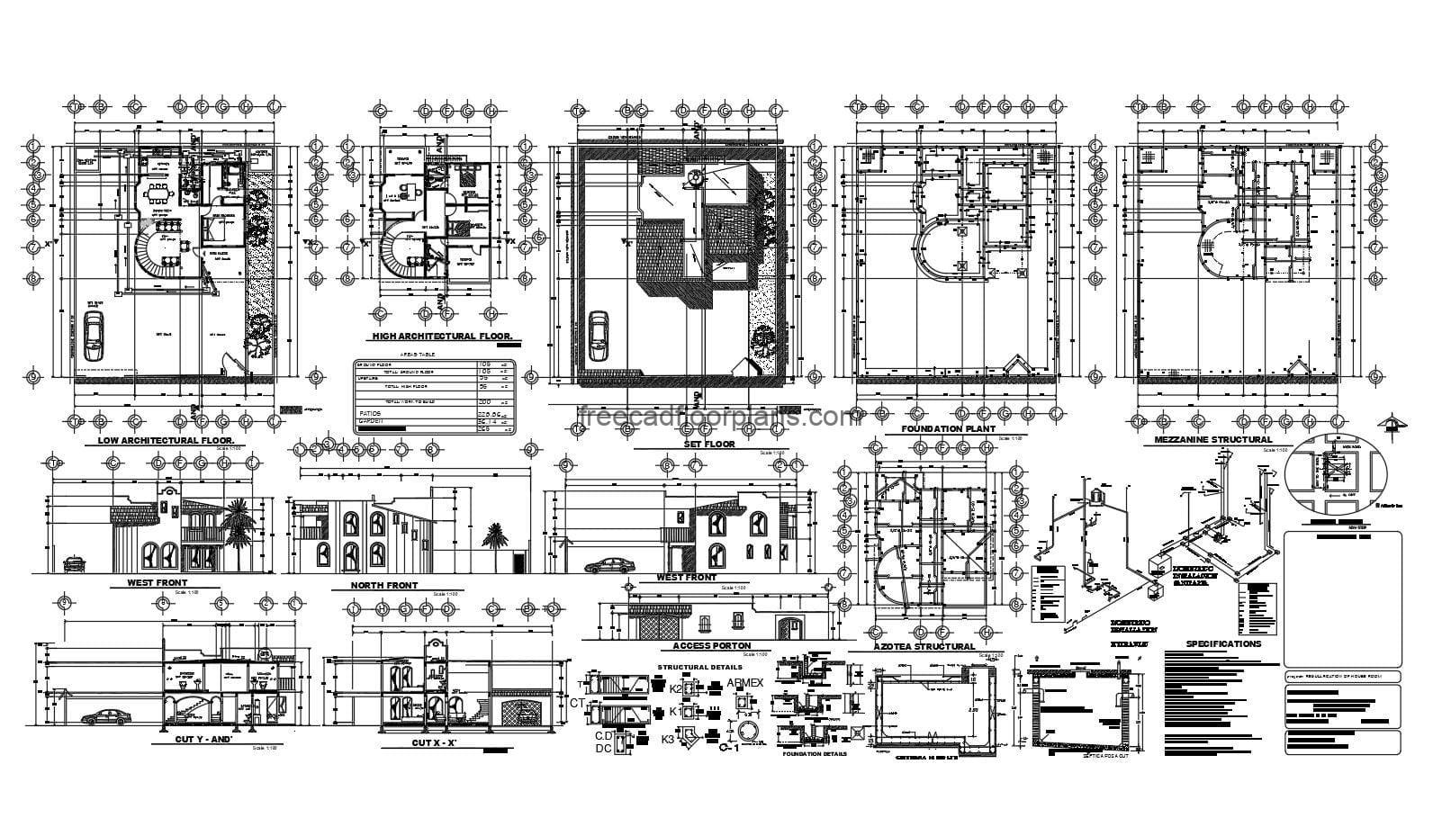 Complete architectural project of construction plans in DWG format for free download of small two-level house. Blueprints with sanitary details, foundation, elevations and architectural dimensioned plants, small residence of easy construction.