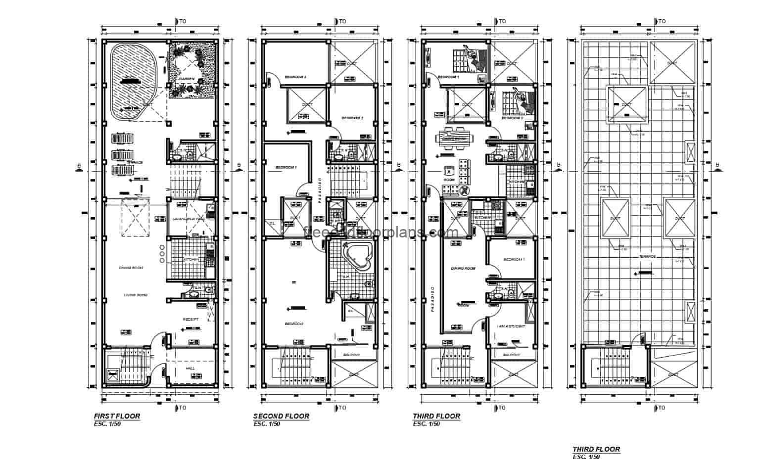 Architectural 2D plans and dimensioning of the residence of three levels in Autocad DWG format, the residence in the first floor has a social area with living room, kitchen, dining room, laundry area, garden and pool area. Second and third levels have six bedrooms in total and a common terrace area for the building. 2D blueprints for free download.