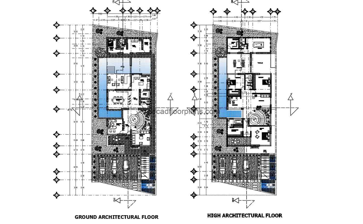 Modern two-level residence complete plan project for free download in DWG format, residence with front and rear terraces and three bedrooms. Dimensioned and architectural blueprints with Autocad blocks.