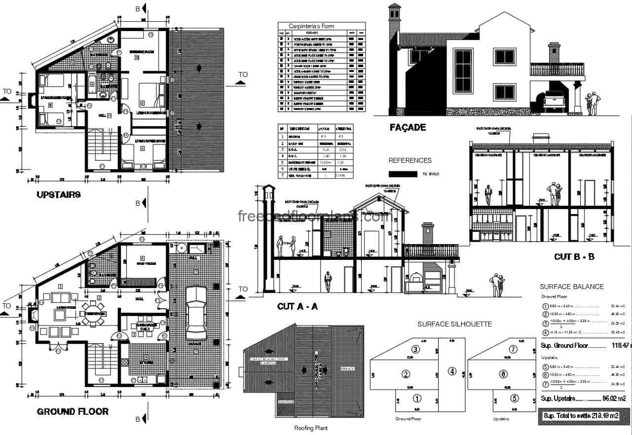 Two-level house with terrace, complete project plans in Autocad DWG format for free download, residence with terrace and sloping roofs. Three rooms in total on the upper floor, garage with grill in the background, plans with details of materials, sections, facades, floor plan and architectural. Blueprints of house design for free download.