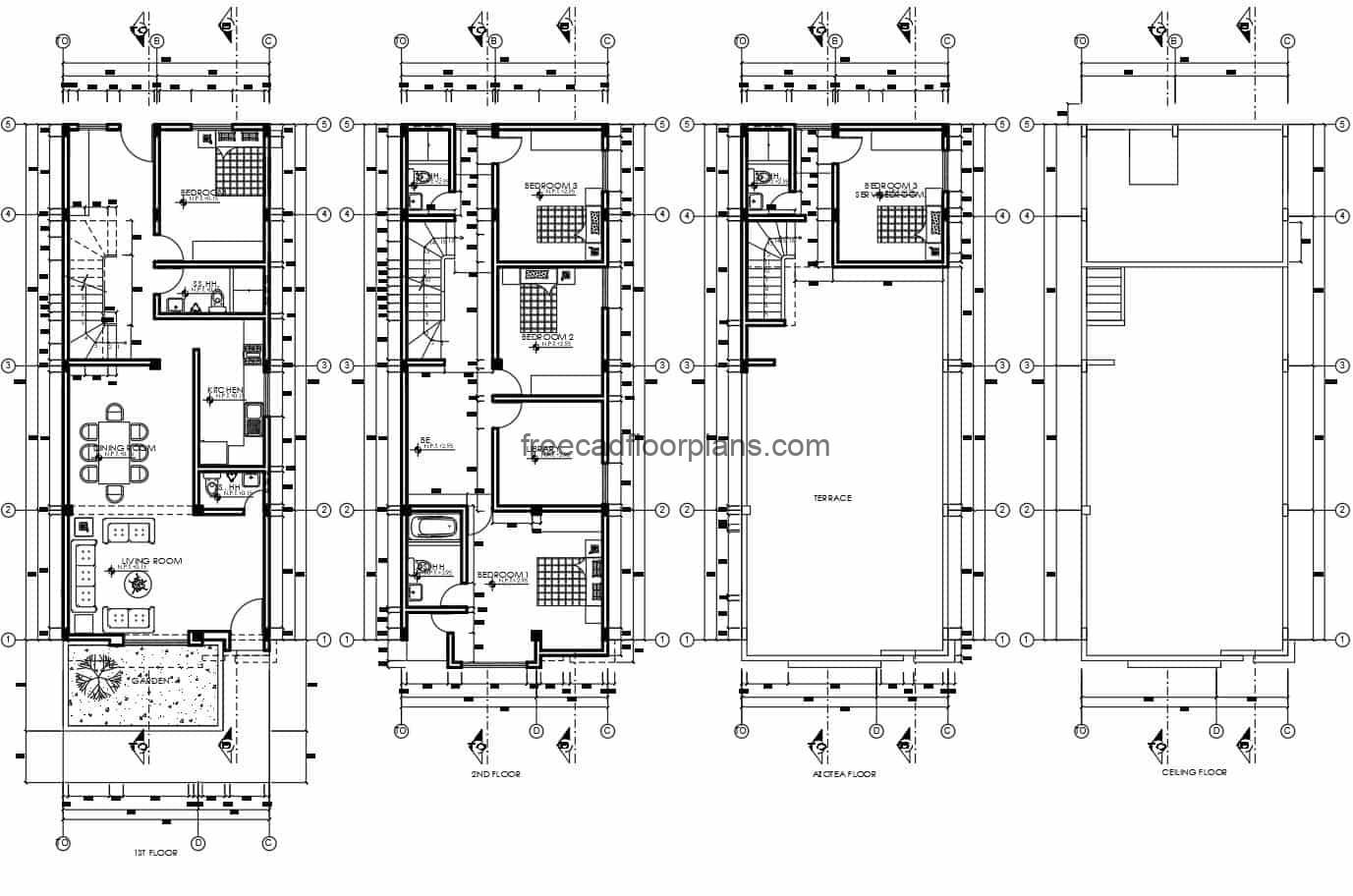Architectural project plans and dimensioning of rectangular residence of three levels with five rooms in total, the residence has a roof terrace with service area, three rooms with two bathrooms on the second level, and first level with a room and a bathroom apart from the social areas. Blueprints for free download of residence in DWG format with furniture blocks in Autocad.