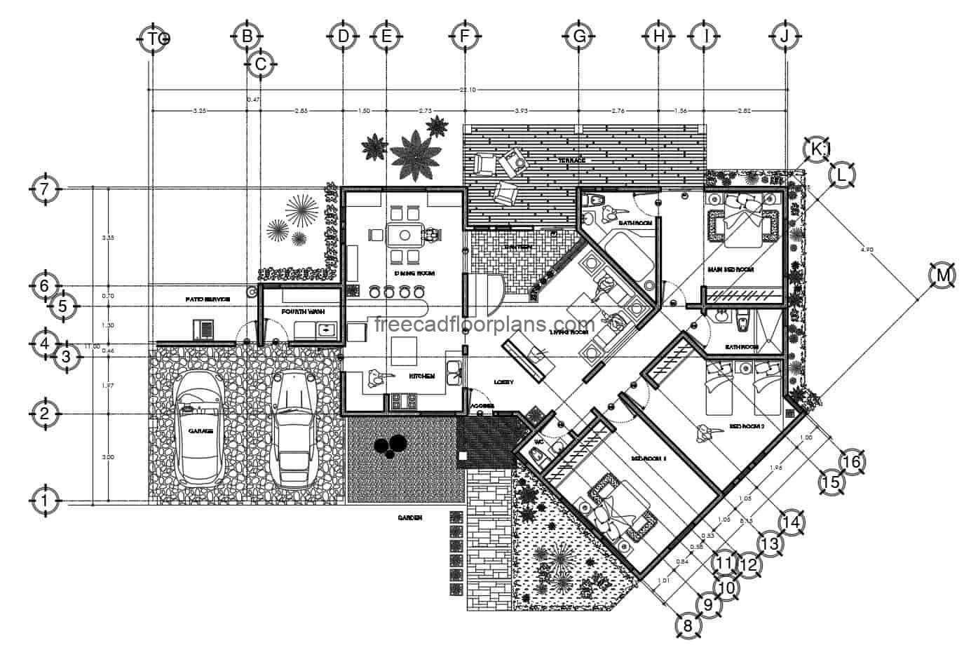 Residence of three rooms, house with irregular shape of a simple level with three rooms, architectural and dimensional plans with facade elevations for free download in Autocad DWG format. Editable furniture blocks in DWG inside the house, editable blueprints.