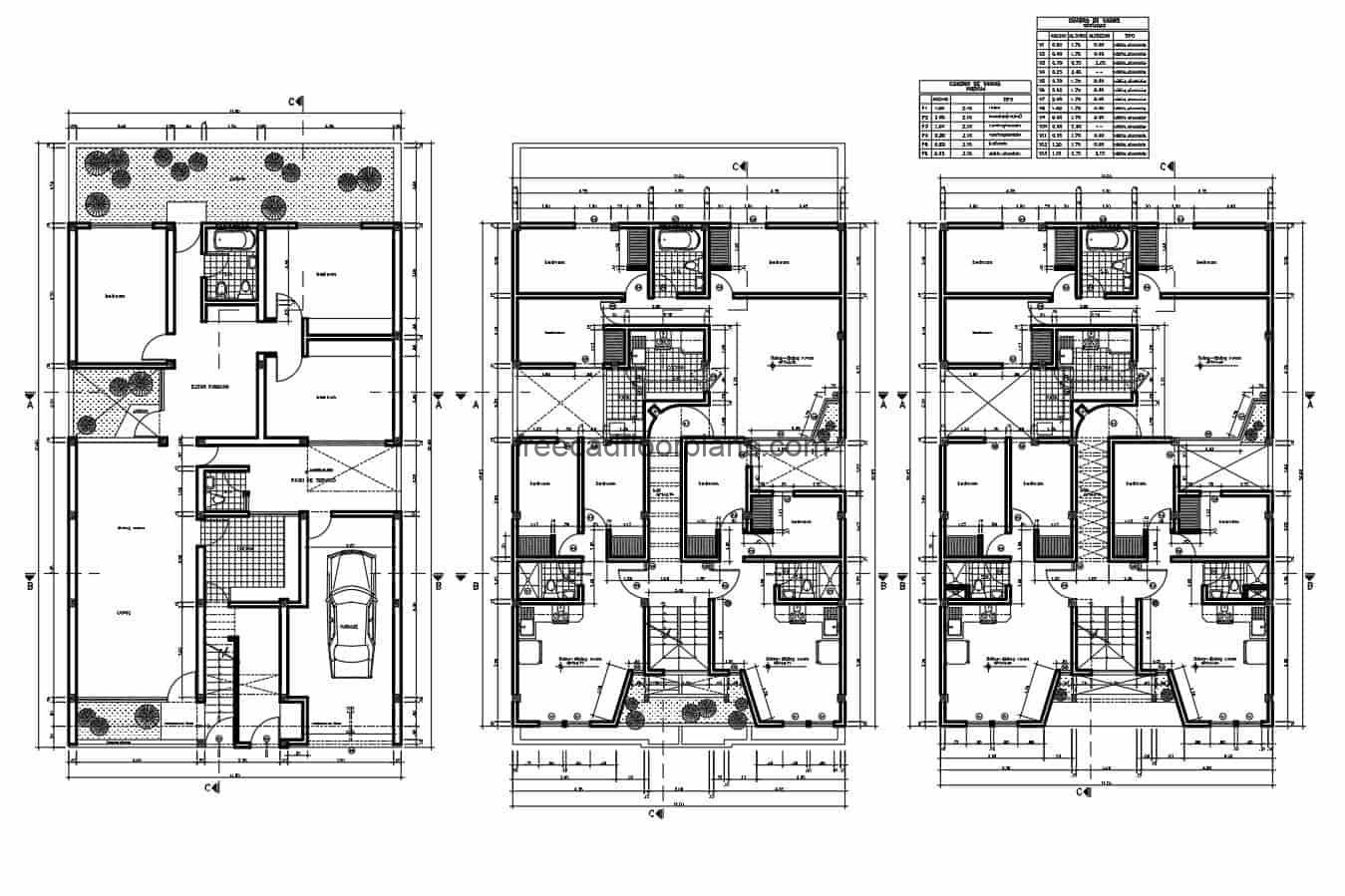 Housing project of three levels in 2D architectural plans, dimensions, facades and sections, each housing unit has two houses per level, each house has living-dining area, kitchen and laundry area and two bedrooms with two bathrooms. Blueprints in 2D for free-download, editable plan in DWG format from Autocad.