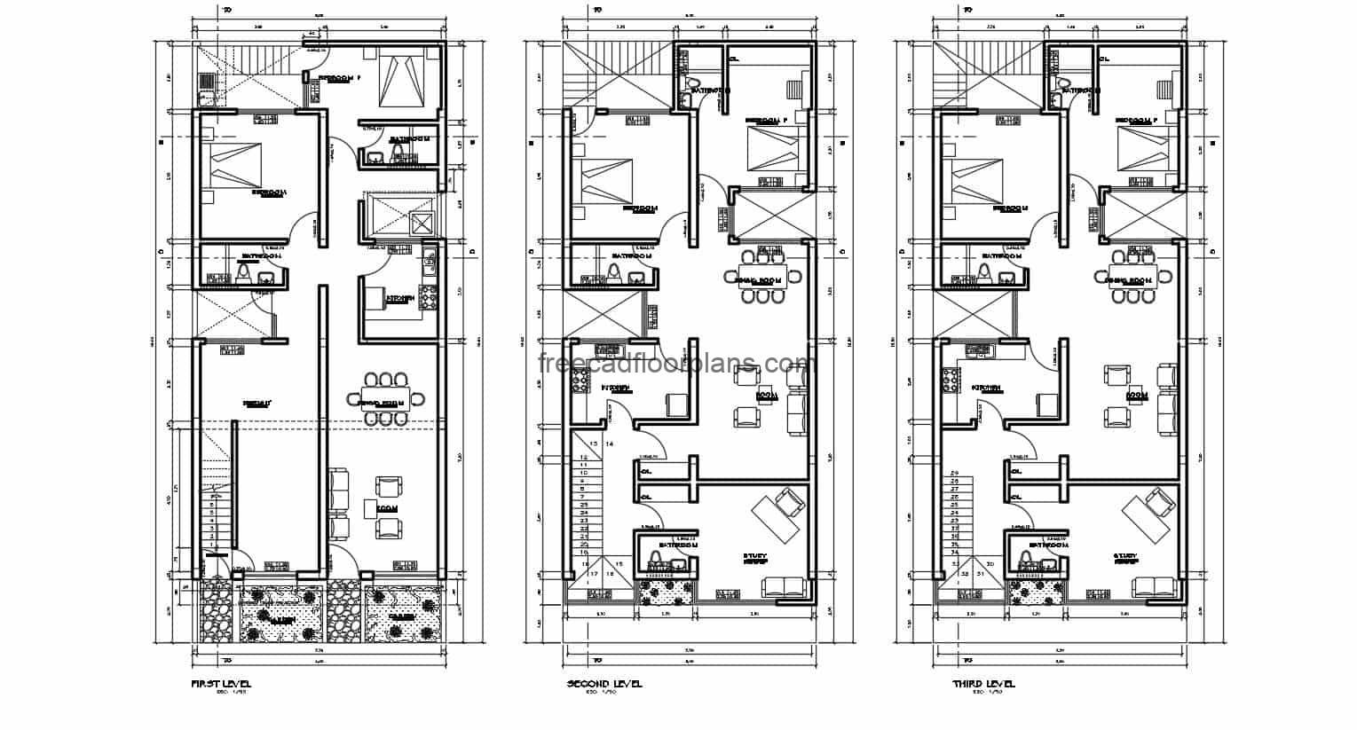 Residence of three independent levels with two rooms each, the complete project includes architectural plans, dimensions, sections, elevations, foundations, and technical sanitary, electrical and structural plans. Blueprints in Autocad DWG format for free download.