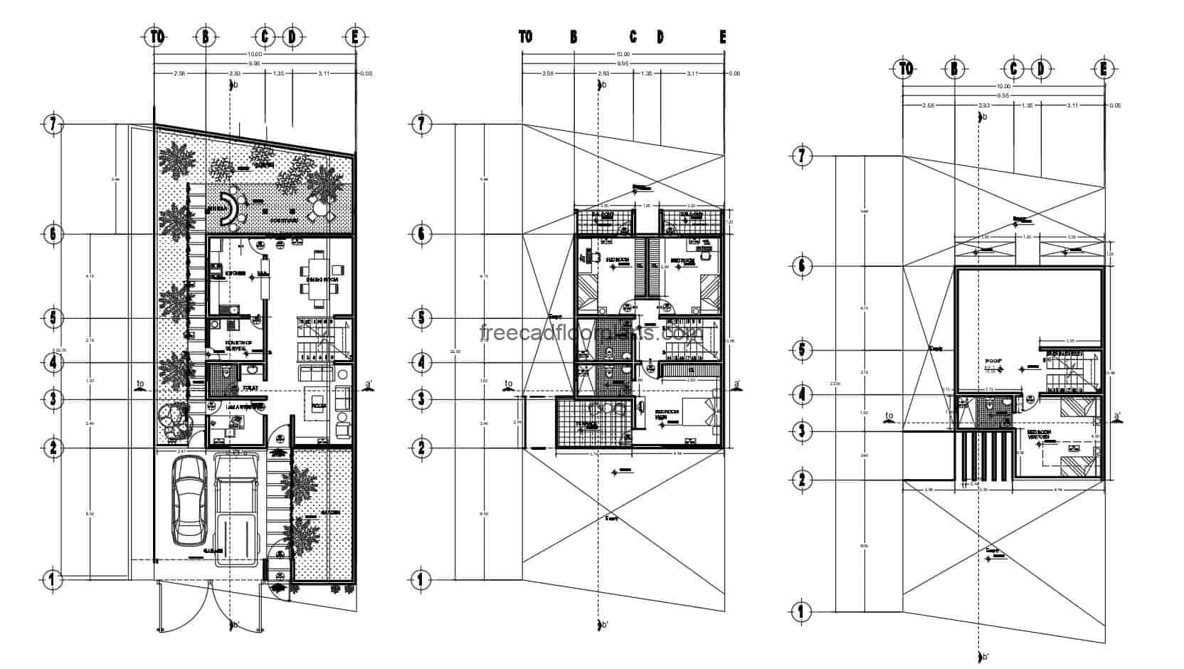 Complete plans developed in Autocad DWG format of simple house of three levels with four rooms in total. First level social area with living room, kitchen, dining room, laundry area and half bathroom, patio with minibar, second level three bedrooms each with balcony and two bathrooms and third level another bedroom with bathroom. 2D blueprints for free download.