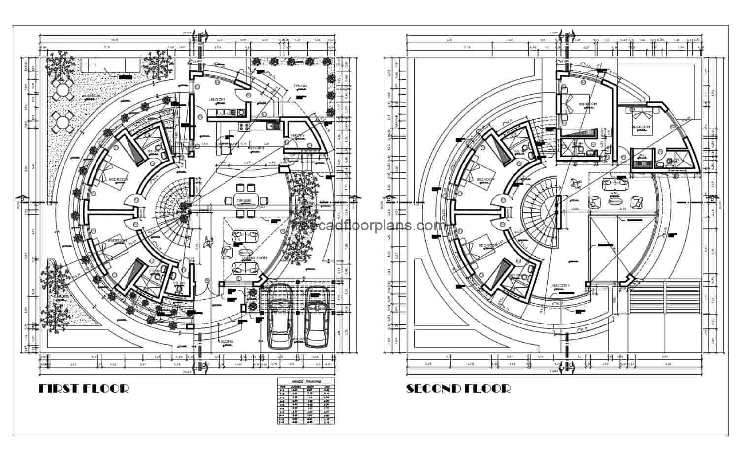 Architectural design of a two-level circular house with a concentric staircase, 2D architectural and dimensional plans, as well as elevations of facades and sections. Six rooms in total, four in the second level and two in the first level, green areas around the house. 2D blueprints for free download with interior and exterior autocad furniture blocks