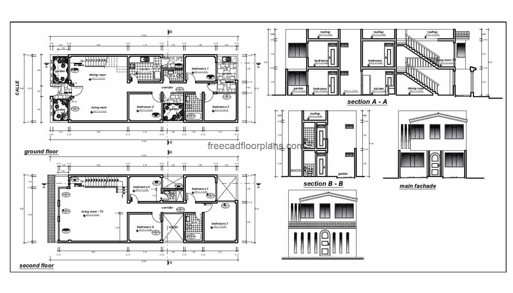Architectural and dimensional plans with facade elevations and sections designed in Autocad DWG format of a two-level elongated rectangular residence with seven rooms in total. Residence has front gardens, living and dining room side by side, separate kitchen, interior garden, two bedrooms and two bathrooms on the first level, on the second level has five rooms with two bathrooms and family room. 2D blueprints for free download, detailed plans with editable autocad blocks.