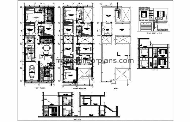 Two Storey Residence With 8 Bedrooms AutoCAD Plan, 2311201