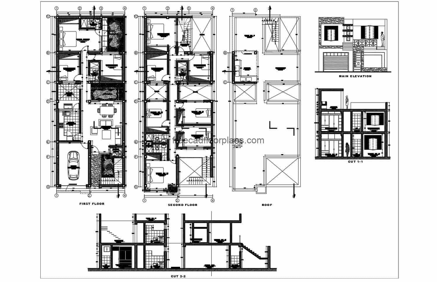 Complete architectural project of two-level residence in DWG format by Autocad, elongated rectangular house with 8 rooms in total, first level social area with garage, living room, dining room, side kitchen, laundry area, bathroom, intermediate and backyard. Second level private area with 7 bedrooms and three bathrooms. The set of plans contains architectural, dimensional, elevations, sections, electrical, sanitary, structural and structural details. Blueprints 2d for free download with interior Autocad blocks.