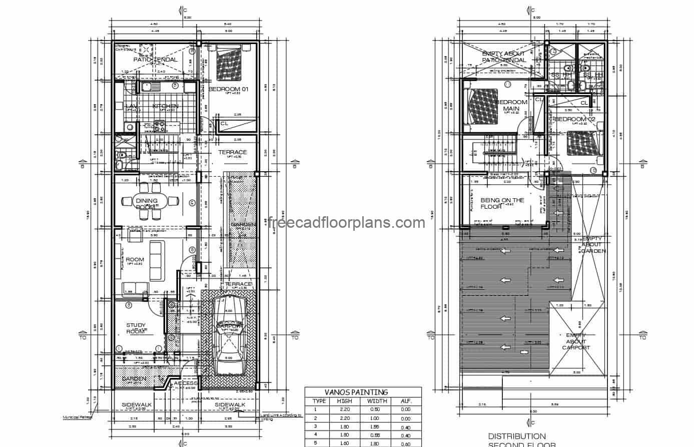 Complete project plans in DWG format from Autocad of a two level rectangular residence with three bedrooms in the second level, first level social area with garage for one vehicle, living room, kitchen, dining room, study room and patio area. Architectural, dimensional, electrical, sanitary, foundation and structural plans, with blocks and CAD furniture details. Blueprints in DWG for free download.