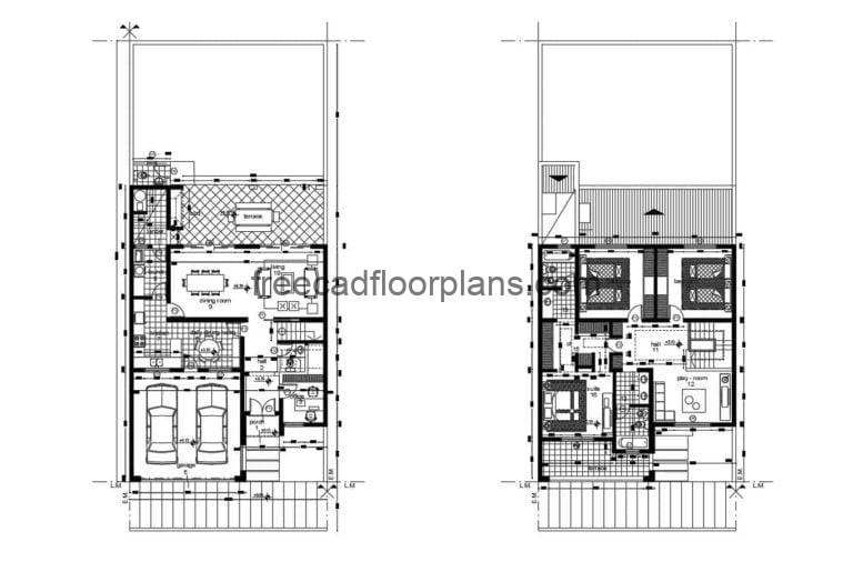 Architectural project and dimensioning of a two-level residence with three rooms in total on the second level. First level with garage area for two vehicles, living room, office, dining area, kitchen, rear terrace, laundry area and bbq area. 2D plans in Autocad DWG format for free download. The plans include, architectural, sizing, roof plan, elevations, sections.