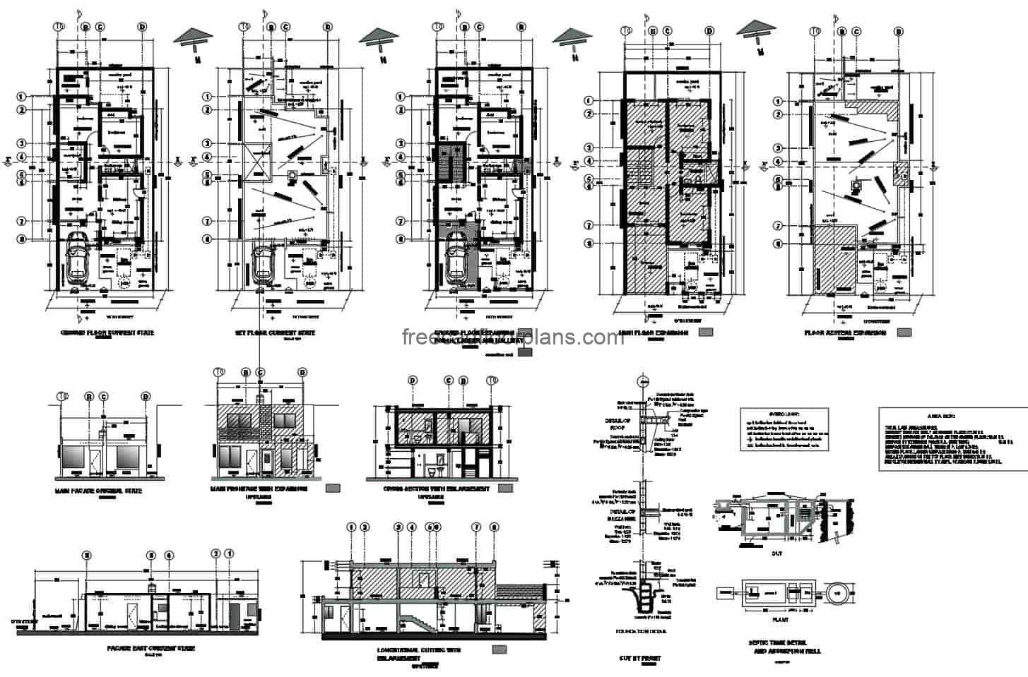 Complete project for the extension of the house, from one level to two levels, the preliminary project includes the survey of original plans of the project, facade plans, elevation sections, hydraulic plans and structural details. Architectural and dimensional blueprints for free download, DWG Autoca